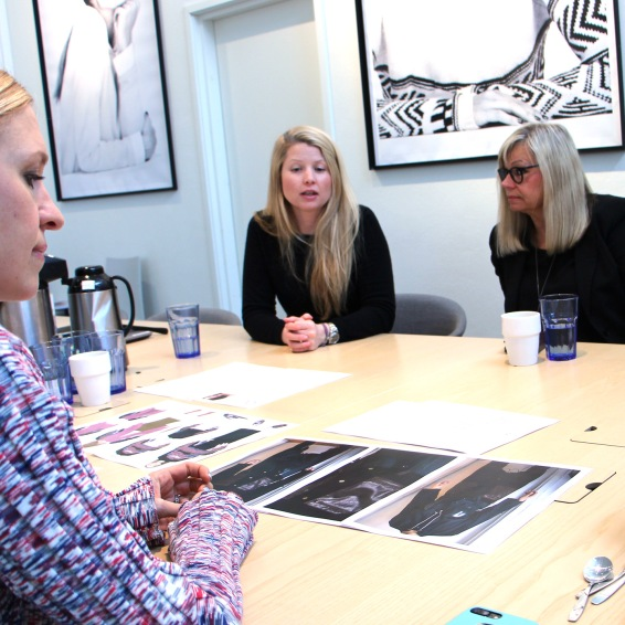 It all began with Kim's winning design idea for our Sustainable Design Contest. The jury consisted amongst others of the Swedish fashion profile Emilia de Poret (closest to the camera) and KappAhl's sustainability coordinator Lina Nyqvist (left) and Eva Kindgren de Boer who works with sustainability in the purchasing development department.